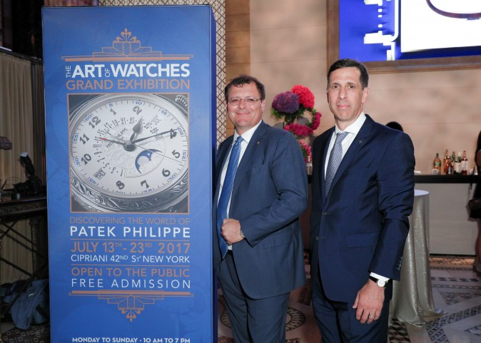 Thierry Stern, president  and Larry Pettinelli, president in the U.S. of Patek Philippe at The Art of Watches Grand Exhibition in Cipriani 42nd Street, New York, July 2017. (Patek Philippe)