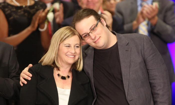 Mayor Megan Barry with her late son Max Barry, after her swearing-in ceremony in Nashville, on Sept. 25, 2015. (Courtesy Mayor's Office)