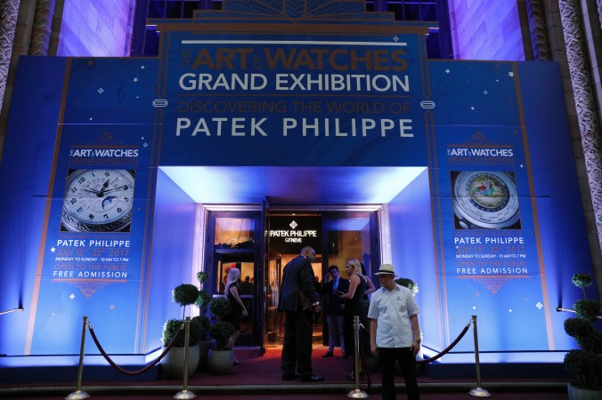 """The outdoor entrance to """"The Art of Watches Grand Exhibition"""" of Patek Philippe at Cipriani 42nd Street, New York, July 2017.  (Courtesy of Patek Philippe)"""