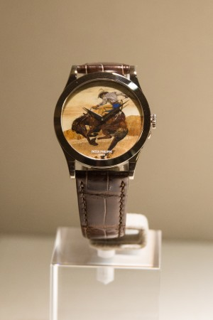 Patek Philippe's Calatrava with wood marquetry. (Benjamin Chasteen/The Epoch Times)