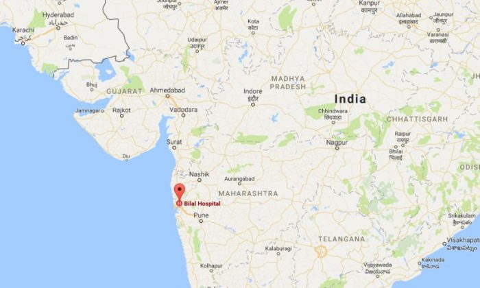 A baby born near Mumbai, India, was born with his own half-formed twin brother inside his stomach (Google Maps)