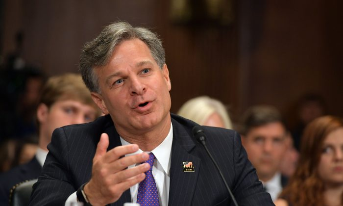 Christopher Wray testifies before the Senate Judiciary Committee on his nomination to be the director of the Federal Bureau of Investigation in the Dirksen Senate Office Building on Capitol Hill in Washington on July 12, 2017. (MANDEL NGAN/AFP/Getty Images)