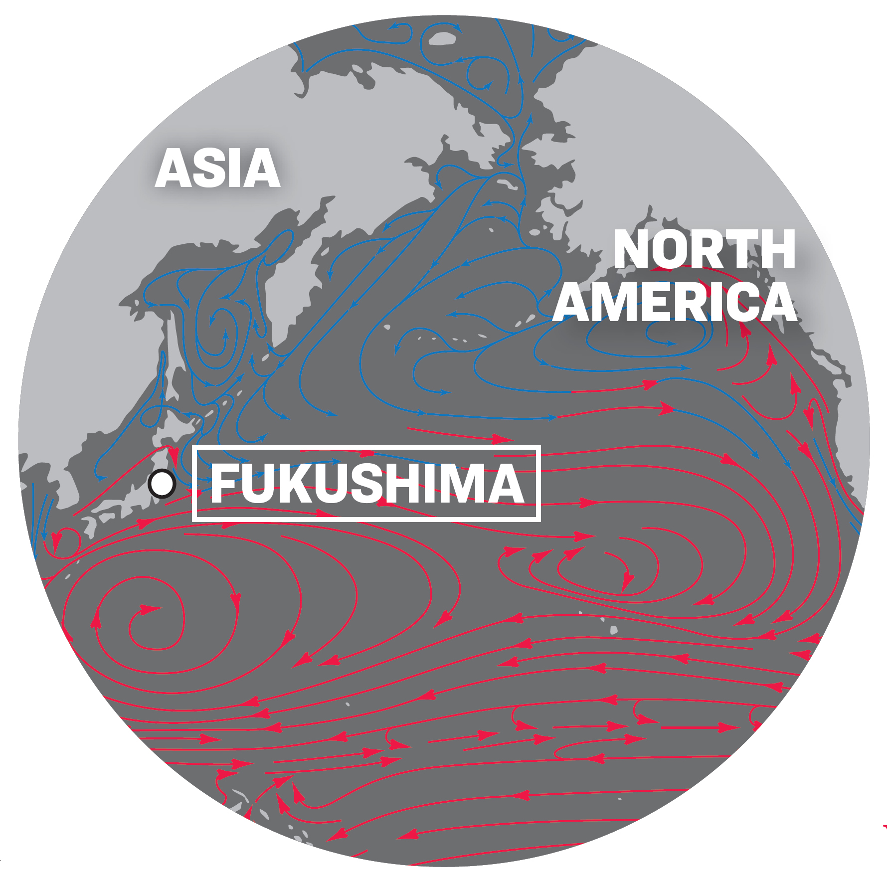 A map showing the location of the Fukushima Daiichi nuclear power plant and water currents in the Pacific Ocean. (SHUTTERSTOCK (BASE MAP); THE EPOCH TIMES (DESIGN))