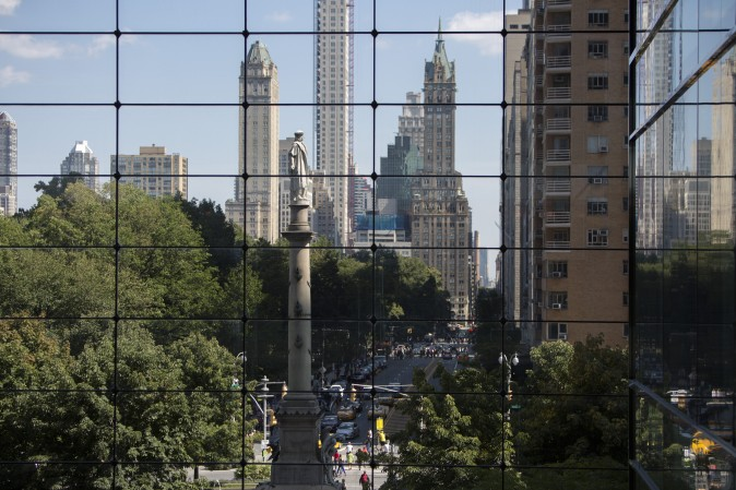 The 76-foot statue of Christopher Columbus, which was given to New York by Italian Americans in 1892, at Columbus Circle in Manhattan. (Samira Bouaou/The Epoch Times)