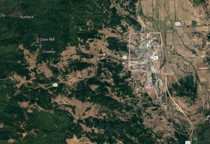 The encampment was located near Highway 20 near Willits, California (Google Maps)