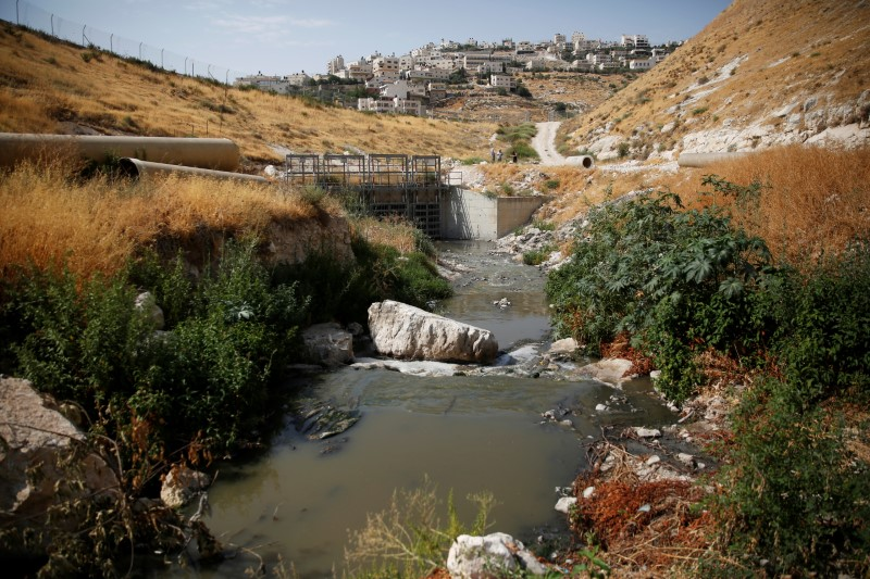 Sewage flows in Kidron Valley, on the outskirts of Jerusalem July 6, 2017. (REUTERS/Ronen Zvulun)
