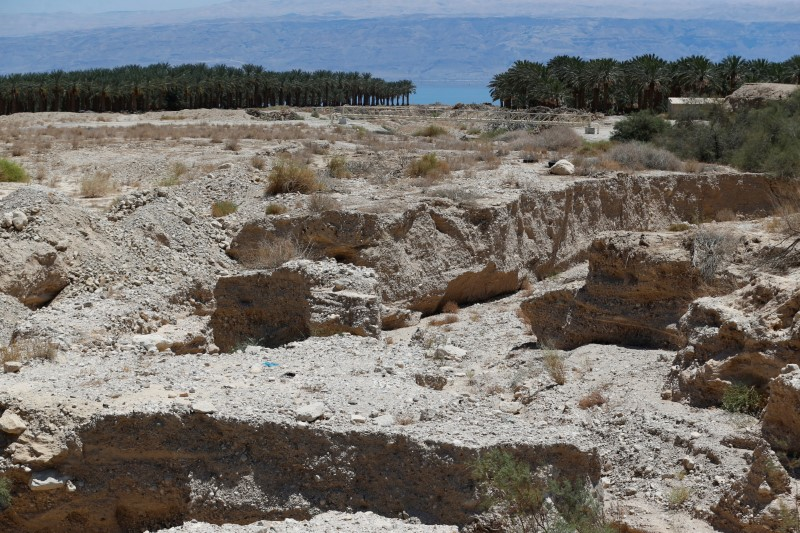 The estuary of the Kidron Valley is seen as it leads into the Dead Sea in the West Bank August 2, 2017. (REUTERS/Ammar Awad)