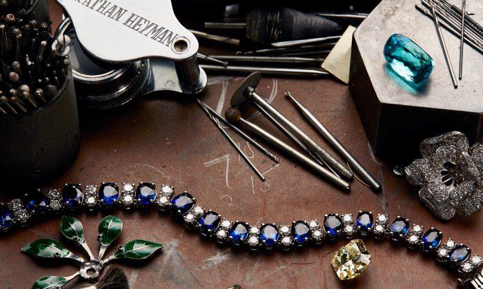 Examples of Oscar Heyman jewelry on a worktable. (Oscar Heyman)