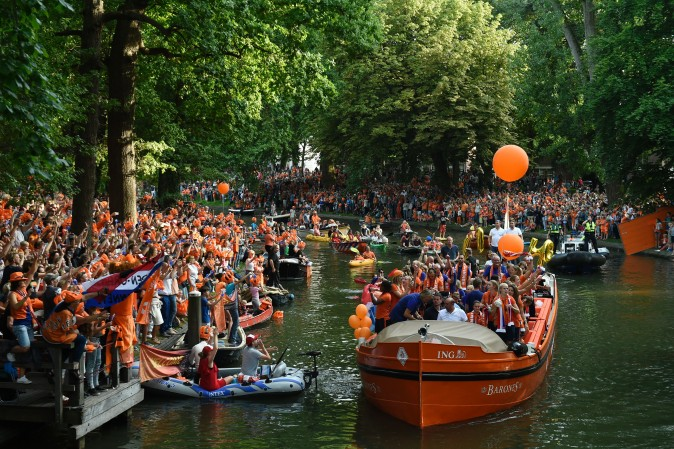 The Dutch women's soccer team celebrates their victory in Utrecht, the Netherlands, on Aug. 7, 2017, after they won the UEFA Women's Euro 2017 tournament final against Denmark. (JOHN THYS/AFP/Getty Images)