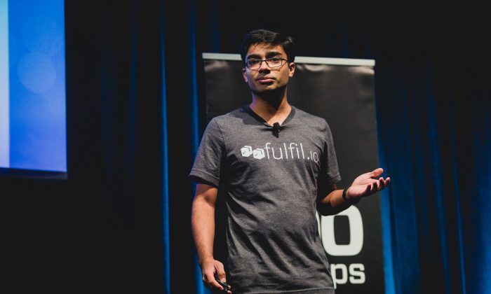 Sharoon Thomas, CEO of fulfil.io, makes a presentation at 500 Startups in Mountain View, California in February. He moved his company to Toronto in May after successfully applying through Canada's startup visa program. (500 Startups)