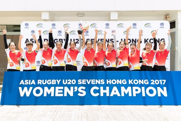The China U20 women's Rugby Sevens team that won the Women's Asia Rugby Sevens Championship on Saturday August 5, 2017. (Asia RFU)