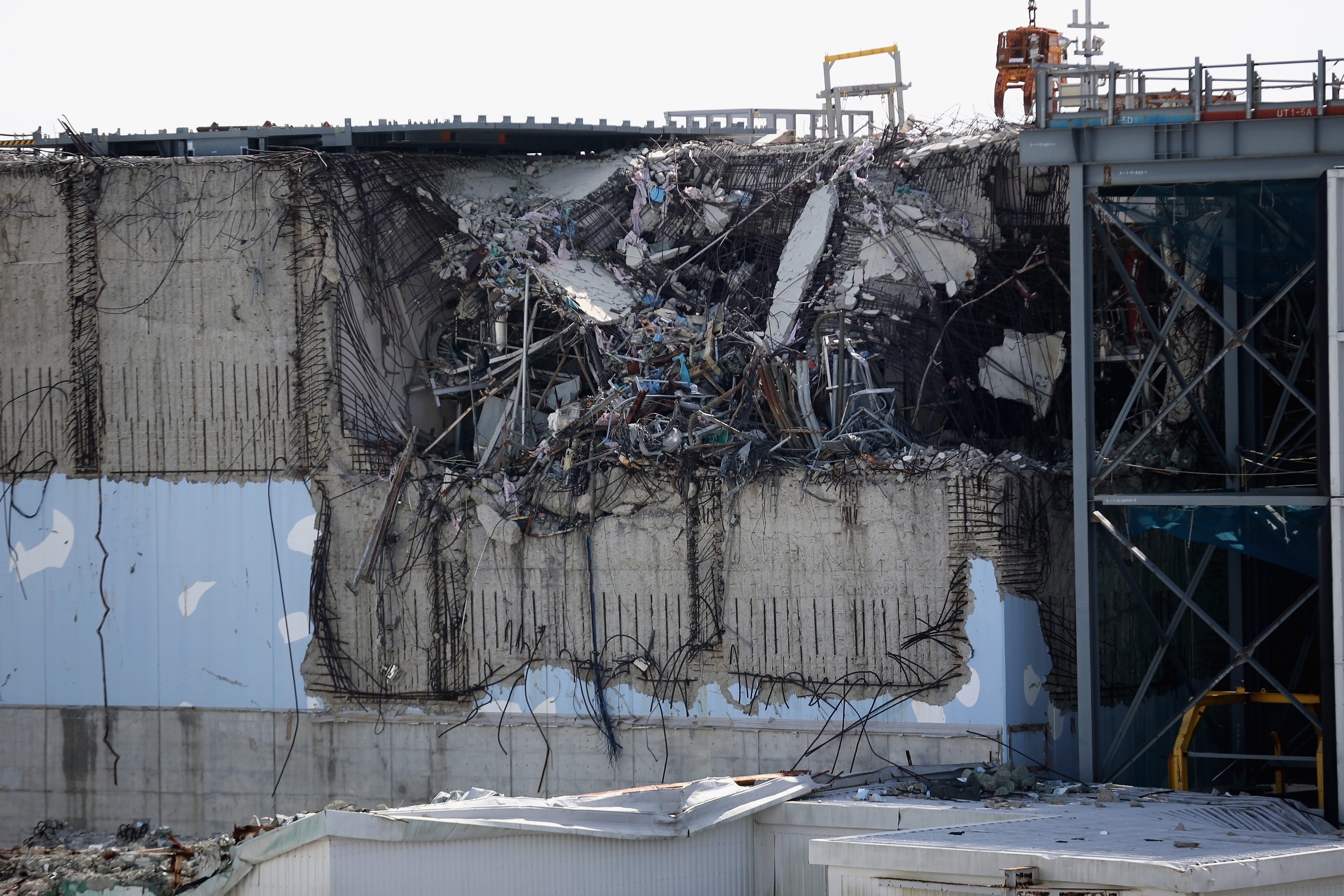 A general view of damage to No. 3 reactor building at Fukushima Daiichi nuclear power plant. (Christopher Furlong/Getty Images)