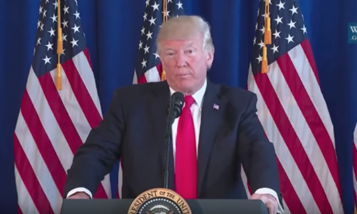 President Donald Trump condems the violence that broke out in Charlottesville,  Va.  on Aug. 12.  (Screenshot/Youtube)