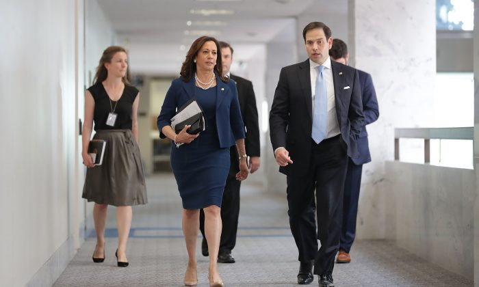 WASHINGTON, DC - JULY 20:  Senate Intellignece Committee members Sen. Kamala Harris (D-CA) (2nd L) and Sen. Marco Rubio (R-FL) arrive for a closed door session in the Hart Senate Office Building on Capitol Hill July 20, 2017 in Washington, DC. President Donald Trump's powerful son-in-law and White House adviser Jared Kushner is scheduled to will speak to the committee Monday.  (Photo by Chip Somodevilla/Getty Images)