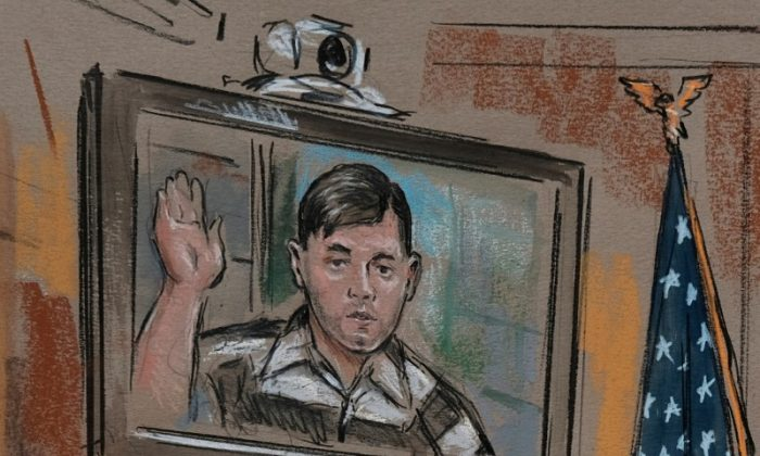 James Alex Fields Jr. is seen via video link from jail as he appears before Judge Robert Downer in an artist's rendering of his bail hearing at the Charlottesville City Court in Charlottesville, Virginia,  August 14, 2017. (REUTERS/William Hennessy Jr.)