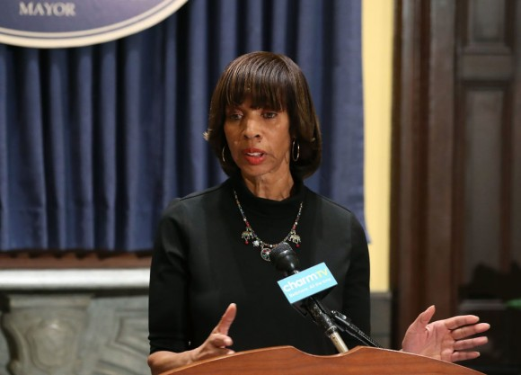 Baltimore Mayor Catherine Pugh talks about the late night removal of four statues, three of them confederate, in the city, on August 16, 2017 in Baltimore, Maryland. (Mark Wilson/Getty Images)