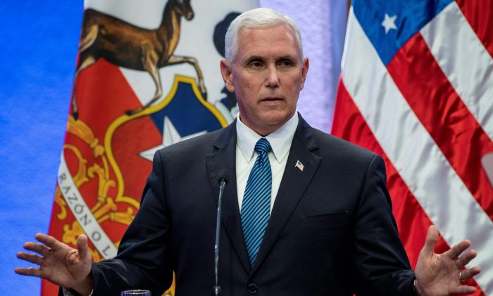 Vice President Mike Pence is pictured during a joint press conference with Chilean President Michelle Bachelet at La Moneda presidential palace in Santiago, on Aug. 16, 2017. (MARTIN BERNETTI/AFP/Getty Images)