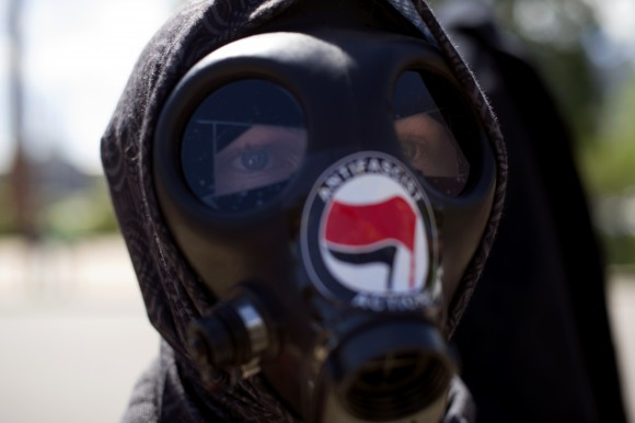 A member of of the Antifa extremist organization in Colorado on June 10, 2017. (JASON CONNOLLY/AFP/Getty Images)