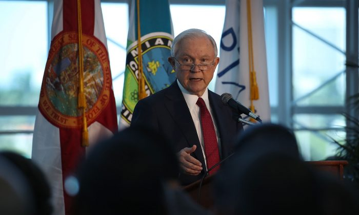 U.S. Attorney General Jeff Sessions says there is a growing trend of violent crime in sanctuary cities, in Miami, Fla., on August 16, 2017. (Joe Raedle/Getty Images)