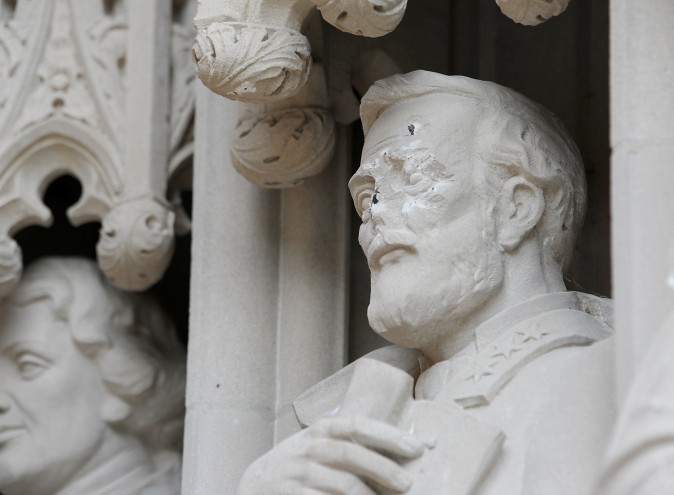 DURHAM, NC - AUGUST 17:  A statue on the portal of Duke University Chapel bearing the likeness of Confederate General Robert E. Lee was vandalized on early August 17, 2017 in Durham, North Carolina. The statue is one of 10 historical figures adorning the exterior of the chapel; the group includes significant figures from the American South and the Protestant and Methodist traditions.  (Photo by Sara D. Davis/Getty Images)