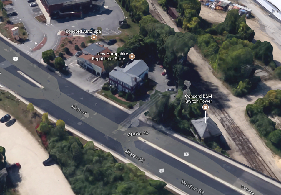 Area surrounding the New Hampshire Republican State Committee headquarters located at 10 Water St. in Concord, NH. (Google Maps)