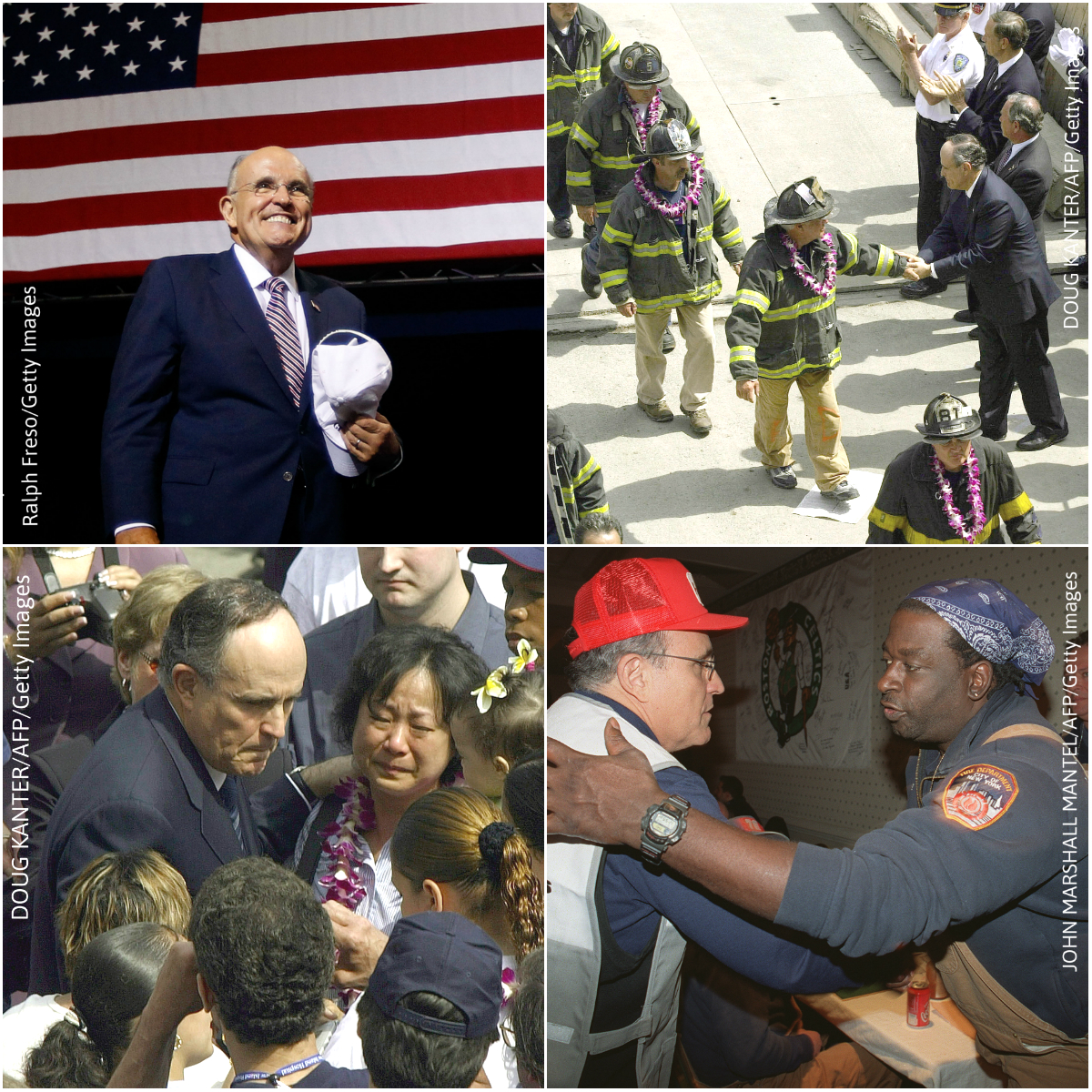 Rudy Giuliani arrives at a campaign rally for then-Republican presidential candidate Donald Trump on Aug. 31, 2016, in Phoenix, Arizona, and as New York City's Mayor, greeting New Yorkers and emergency service personnel near the site of the World Trade Center disaster in 2001. (Getty Images)