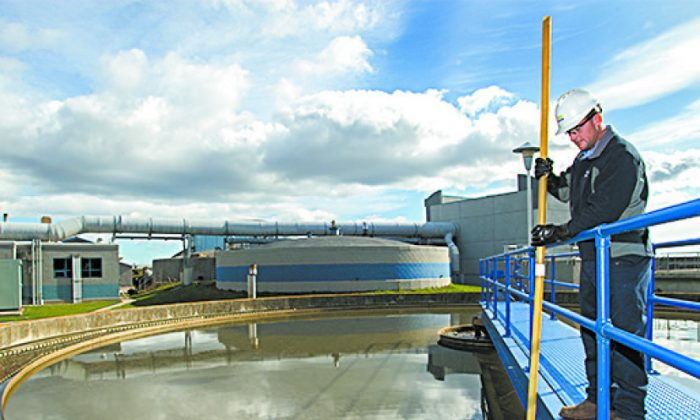 A worker at the Suez Alpena wastewater treatment facility in Alpena, Mich., in this file photo. (COURTESY OF SUEZ)
