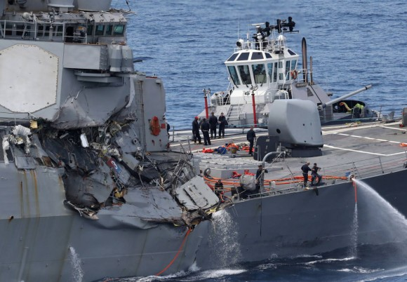 This picture shows damages on the guided missile destroyer USS Fitzgerald off the Shimoda coast after it collided with a Philippine-flagged container ship on June 17, 2017.(STR/AFP/Getty Images)