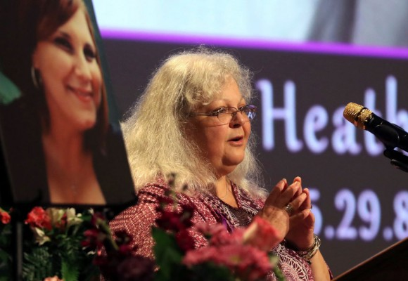 Susan Bro, mother to Heather Heyer, speaks during a memorial for her daughter at the Paramount Theater on August 16, 2017 in Charlottesville, Va.  (Andrew Shurtleff-Pool/Getty Images)