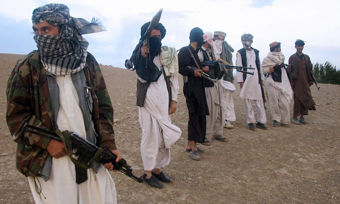 Taliban fighters in Maydan Shahr in Wardak province Afghanistan on Sept. 26 2008