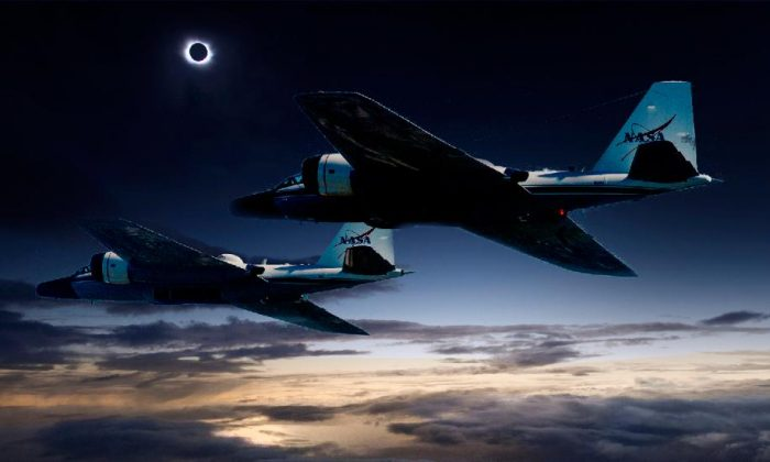 A composite photo shows depicts the scene of WB-57F research jets chasing the solar eclipse. (NASA/Faroe Islands/SwRI)