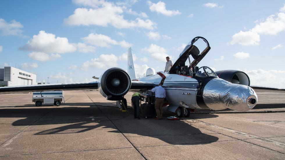 A WB-57F jet at NASA's Johnson Space Center in Houston. The instruments are fitted under the silver casing on the jet's nose. (NASA's Johnson Space Center/Norah Moran)