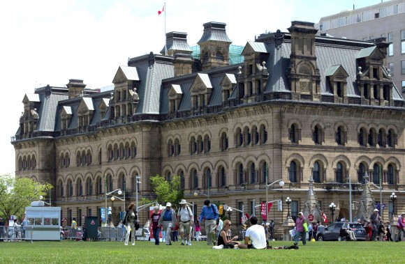The Langevin Block building across from Parliament Hill was renamed the Office of the Prime Minister and Privy Council by the federal government out of respect for Indigenous Peoples. Sir Hector-Louis Langevin, one of the Fathers of Confederation, played a role in the establishment of the residential school system. (THE CANADIAN PRESS/Adrian Wyld)