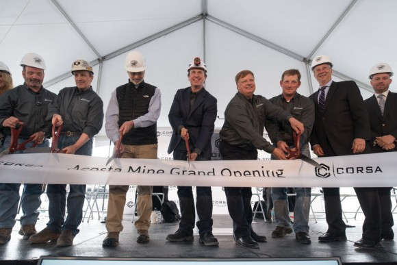 George Dethlefsen, CEO Corsa Coal Corp., center, is joined by fellow Corsa Coal employees and dignitaries as they cut the ribbon at the grand opening of Corsa Coal's Acosta Deep Mine in Friedens, Pennsylvania on June 8, 2017. Dethlefsen announced that the company will open the second coal mine in the first quarter of 2018. (Justin Merriman/Getty Images)