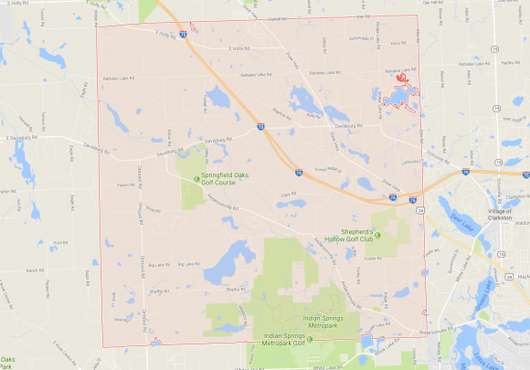 Springfield Township in Michigan highlighted in red. (Google Maps)