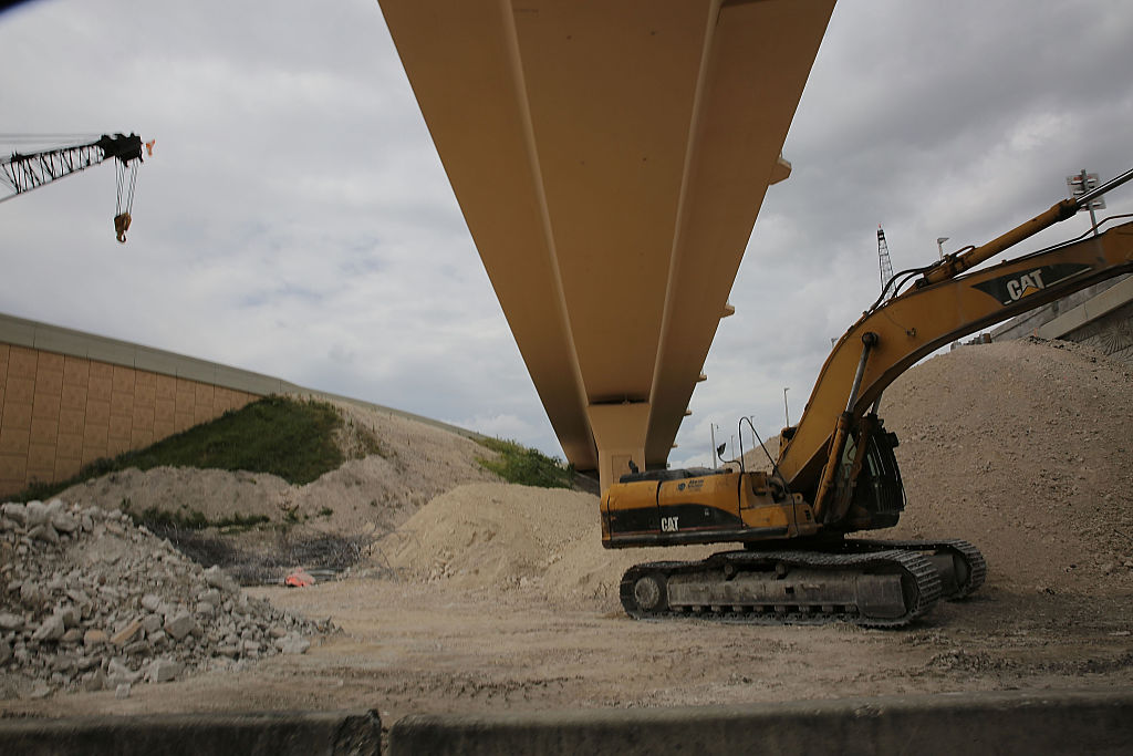 Construction work is seen at the 826 and 836 State Road Interchange in Miami, Fla., on July 30, 2015 . (Joe Raedle/Getty Images)