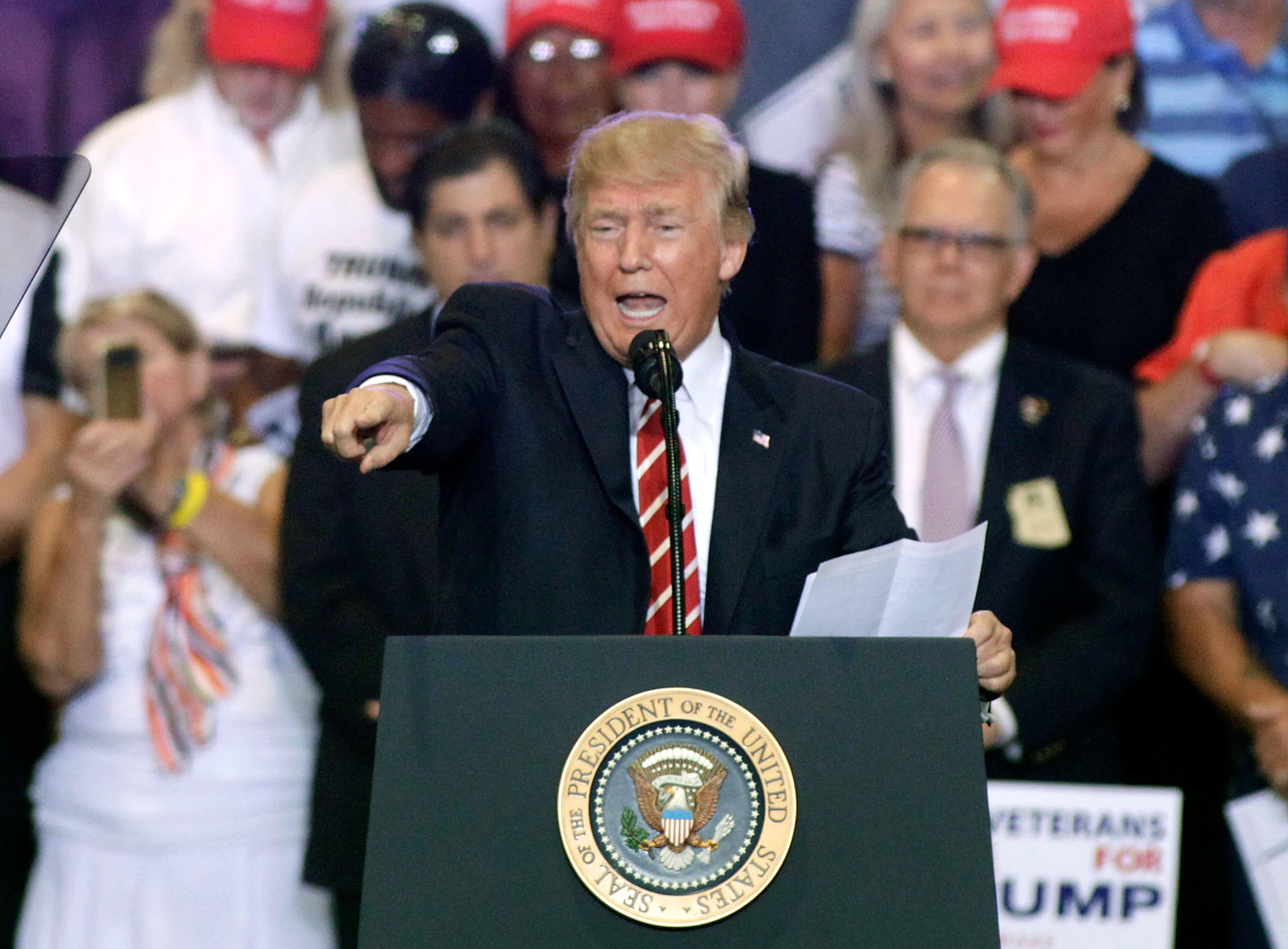 President Donald Trump speaks to supporters at the Phoenix Convention Center during a rally in Phoenix, Arizona on Aug. 22, 2017. (Ralph Freso/Getty Images)