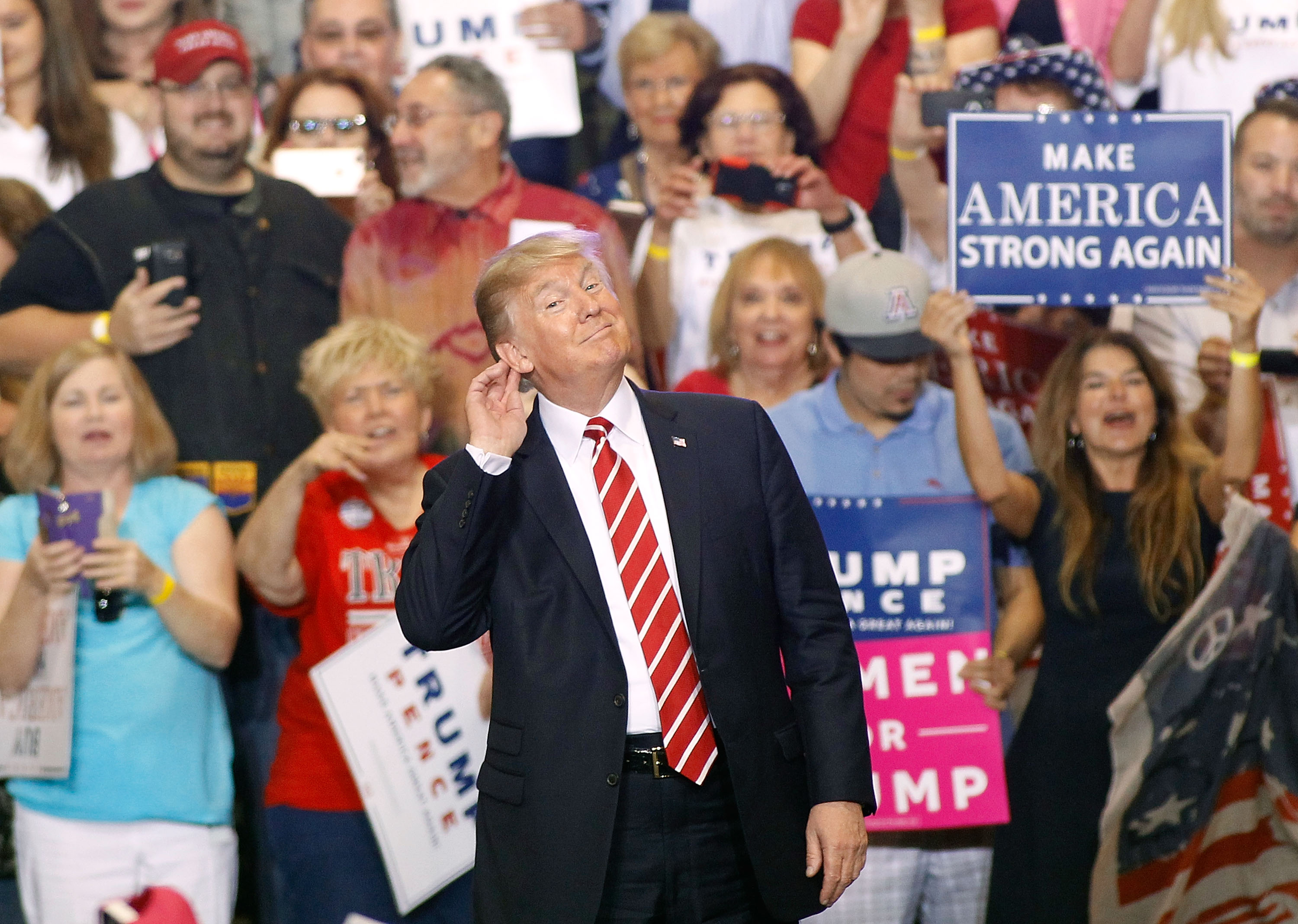 President Donald Trump gestures during a rally at the Phoenix Convention Center on Aug. 22, 2017 in Phoenix, Arizona. (Ralph Freso/Getty Images)
