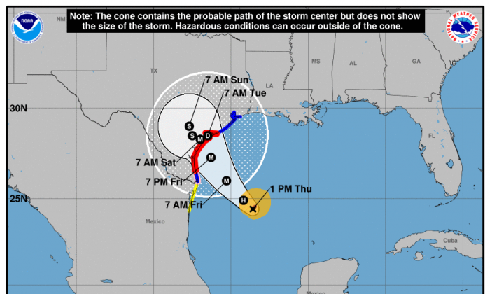 Hurricane Harvey Briefing Page from the National Weather Service, as of 1pm Aug. 24, 2017. (NWS)
