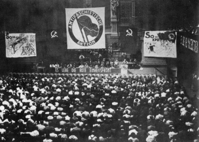 "The Unity Congress of Antifa, held at the Philharmonic Opera House in Berlin, on July 10, 1932. The congress was organized by the Communist Party of Germany as a rallying point to defeat the Social Democratic Party and the Nazi Party. Antifa labeled both parties as ""fascist,"" which was a political label they used for all rival parties. (Public Domain)"