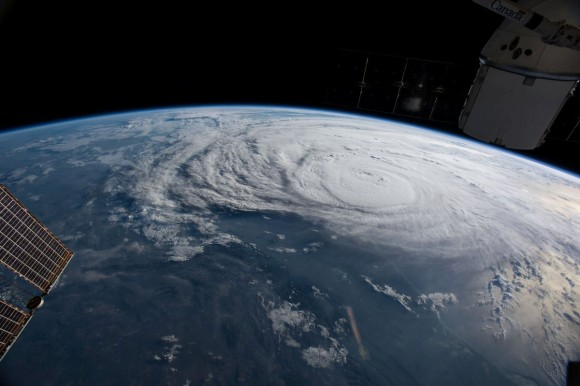 Hurricane Harvey is pictured off the coast of Texas, U.S. from aboard the International Space Station in this August 25, 2017 NASA handout photo.   NASA/Handout via REUTERS