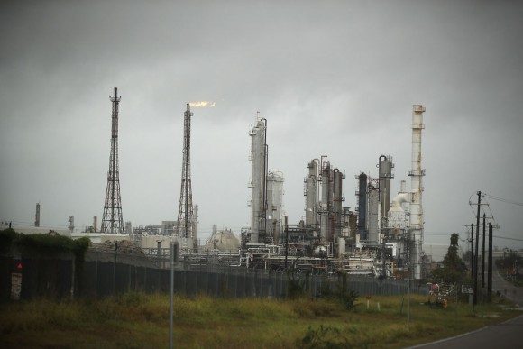 An oil refinery is seen before the arrival of Hurricane Harvey on August 25, 2017 in Corpus Christi, Texas.   (Photo by Joe Raedle/Getty Images)
