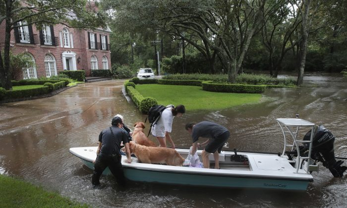 Volunteers and officers from the neighborhood security patrol help to rescue residents and their dogs in the upscale River Oaks neighborhood after it was inundated with flooding from Hurricane Harvey on Aug. 27, 2017 in Houston, Texas. (Scott Olson/Getty Images)