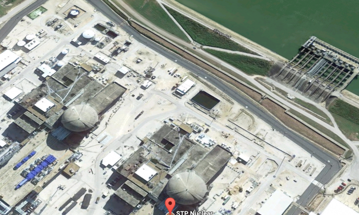 The South Texas Project nuclear power plant is operating at full capacity and built to withstand hurricane conditions, assures the Nuclear Regulatory Commission. (Screenshot via Google Maps)