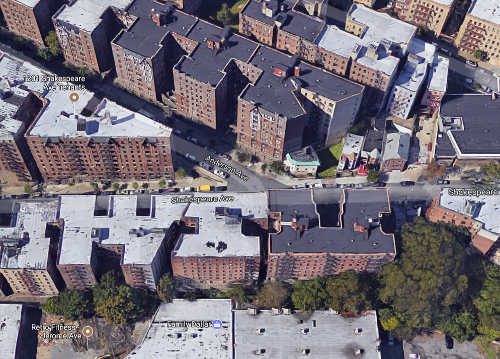 Aerial rendering of area near 1191 Anderson Ave. in the Bronx borough of New York City. (Google Maps)