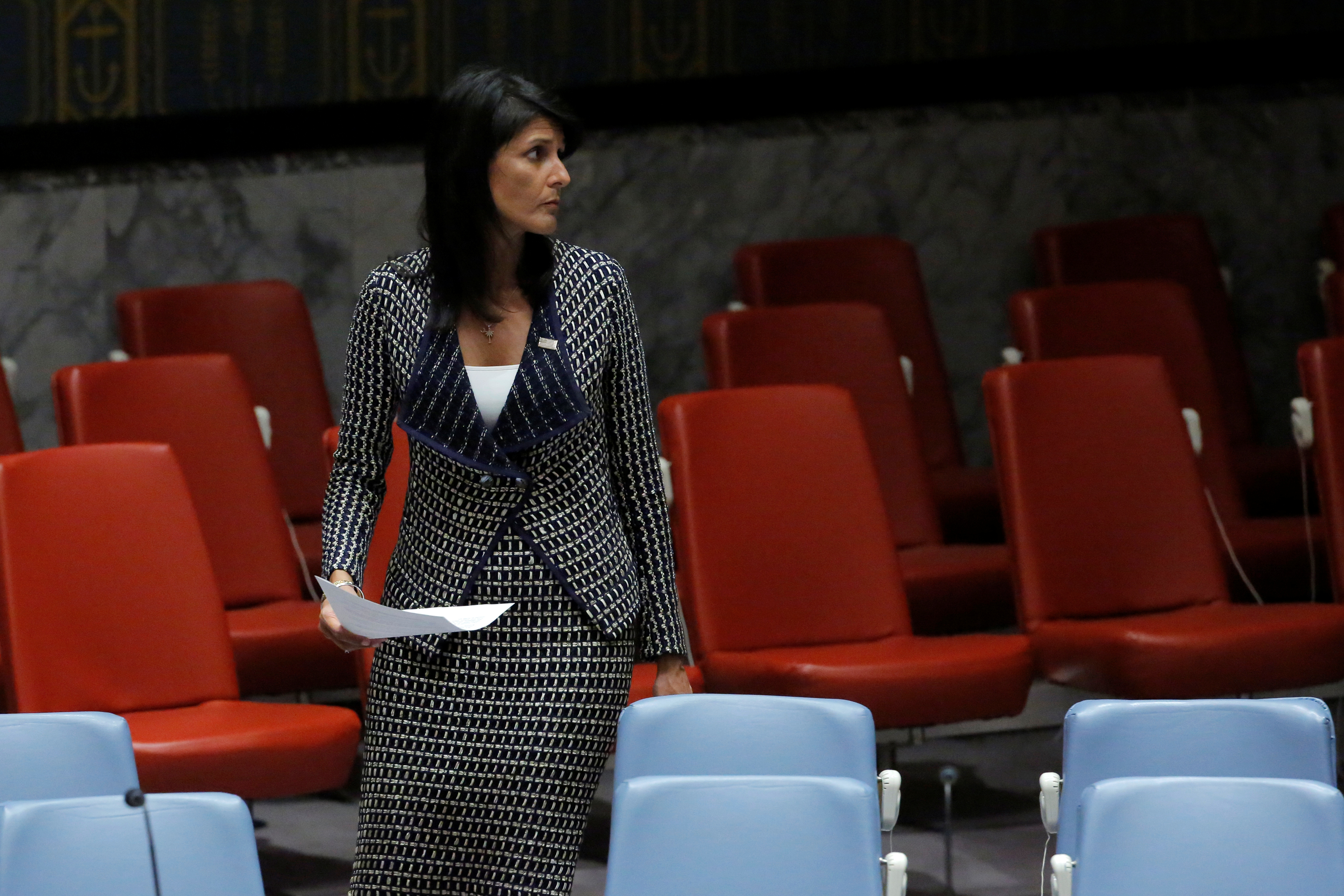 U.S. Ambassador to the United Nations Nikki Haley arrives for a meeting by the United Nations Security Council on North Korea at the U.N. headquarters in New York City on Aug. 29, 2017  (REUTERS/Andrew Kelly)