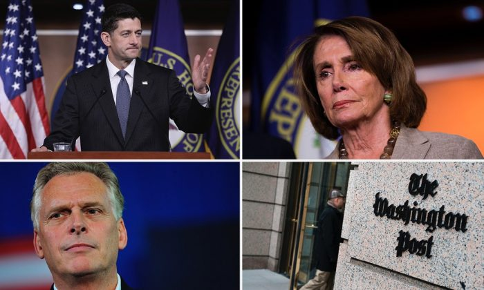 House Speaker Paul Ryan (T-L), House minority Speaker Nancy Pelosi (T-R), Virginia Governor Terry McAuliffe (B-L), The Washington Post building in Washington, D.C. (B-R). (Win McNamee/Getty Images | Drew Angerer/Getty Images | MANDEL NGAN/AFP/Getty Images | BRENDAN SMIALOWSKI/AFP/Getty Images)