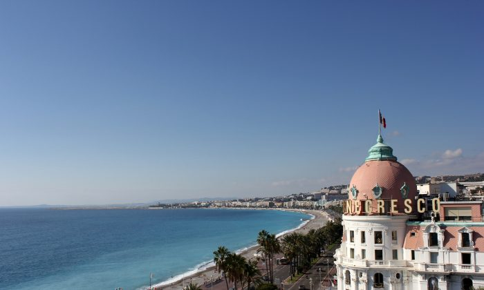 The celebrated dome of the Negresco Hotel in Nice, overlooking the Promenade des Anglais and the Mediterranean Sea. (Courtesy of Negresco Hotel)