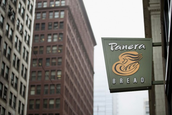 A sign marks the location of a Panera Bread restaurant on May 5, 2015 in Chicago, Illinois. (Scott Olson/Getty Images)