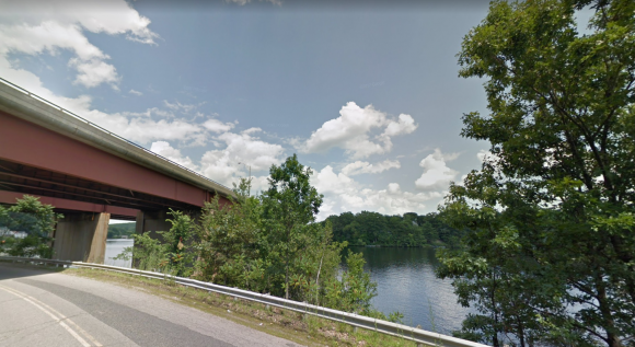 View of the I-290 highway overpass and Lake Quinsigamond. (Google Maps)